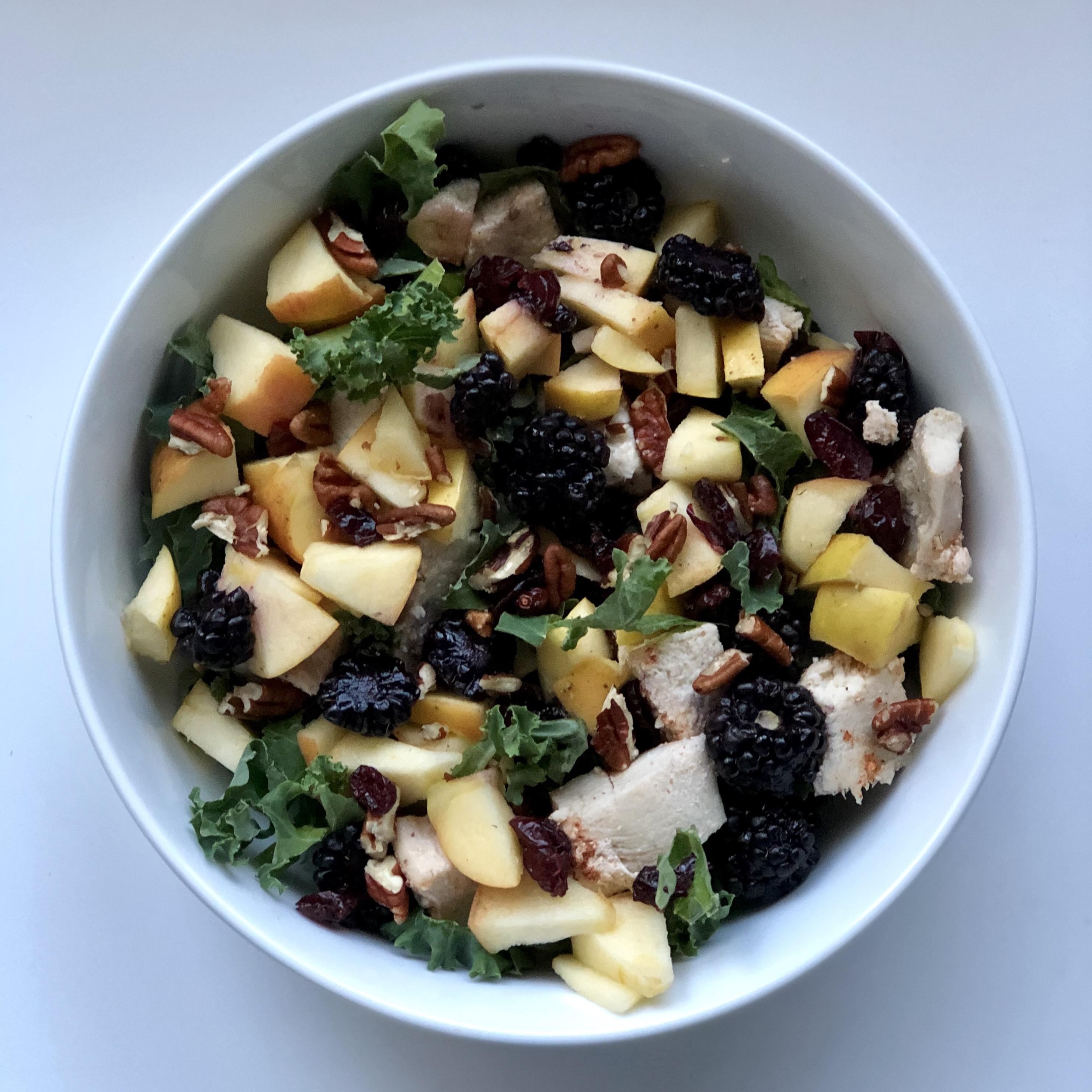 Apple Berry Pecan Kale Salad